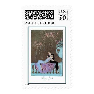 Vintage Art Deco Fireworks Le Feu, George Barbier Postage