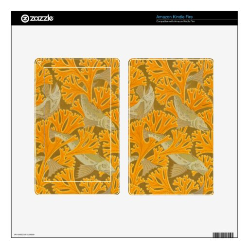 Vintage Art Deco Fish and Yellow Coral Design Kindle Fire Decals