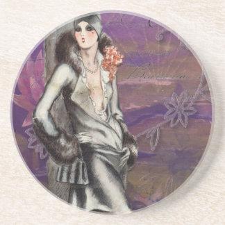 Vintage Art Deco Flapper Lady Design Sandstone Coaster