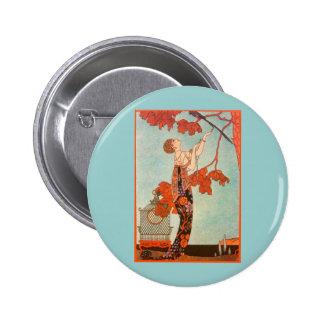 Vintage Art Deco, Flighty Bird by George Barbier 2 Inch Round Button