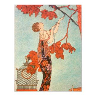 Vintage Art Deco, Flighty Bird by George Barbier Card