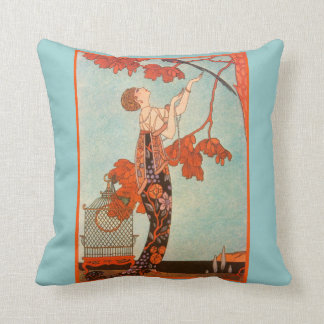 Vintage Art Deco, Flighty Bird by George Barbier Throw Pillows