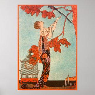 Vintage Art Deco, Flighty Bird by George Barbier Poster