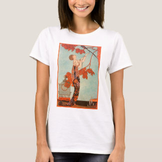 Vintage Art Deco, Flighty Bird by George Barbier T-Shirt