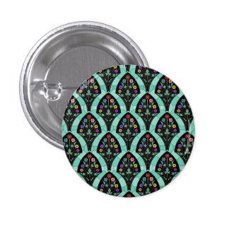Vintage Art Deco Flower Fan Mosaic 1 Inch Round Button