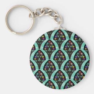 Vintage Art Deco Flower Fan Mosaic Key Chains
