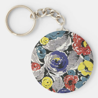 Vintage Art Deco Flowers, Roses Floral Pattern Keychain