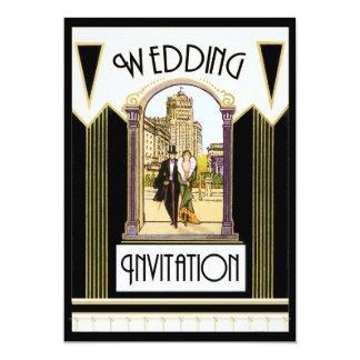 Vintage Art Deco Formal Wedding Couple 5x7 Paper Invitation Card