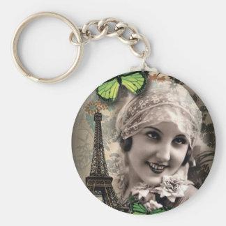 vintage art deco gatsby girl Parisian fashionista Keychain