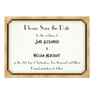 Vintage Art Deco Gatsby Style Save the Date Personalized Invites