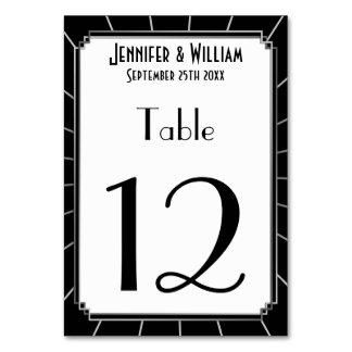 Vintage Art Deco Gatsby Style Wedding Table Number Card