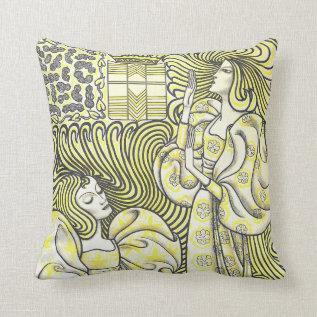 Vintage Art Deco Graceful Women Pillow at Zazzle