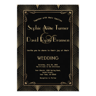 Awesome Vintage Art Deco Great Gatsby Wedding Invitation