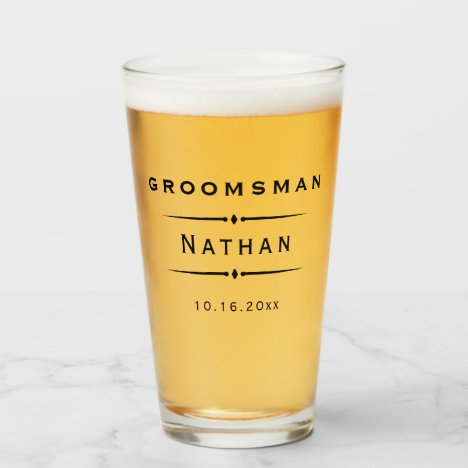 Vintage Art Deco Groomsman Glass