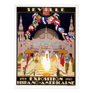 Vintage art deco Hispano-American expo Sevilla Postcard