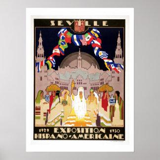 Vintage art deco Hispano-American expo Sevilla Print