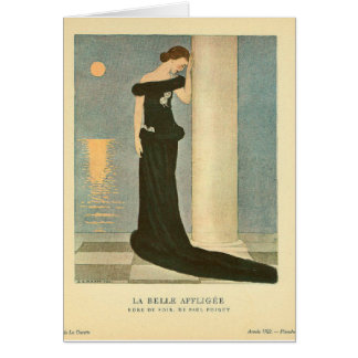 Vintage Art Deco Illustration ~ La Belle Affligee Card