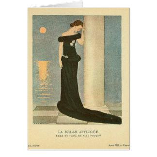 Vintage Art Deco Illustration ~ La Belle Affligee Greeting Card
