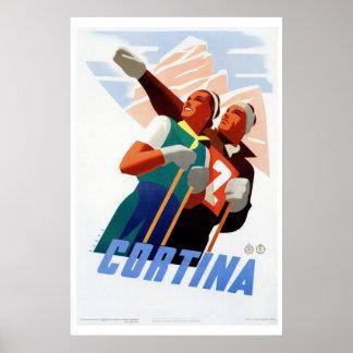 Vintage art deco Italian ski travel Posters