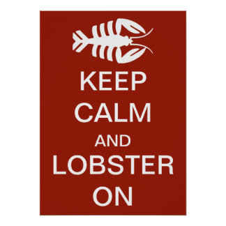 Vintage Art Deco Keep Calm and Lobster On Poster
