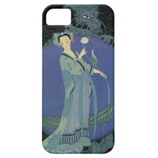 Vintage Art Deco Lady and Dragon iPhone Case