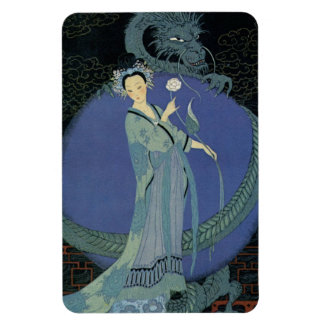 Vintage Art Deco Lady and Dragon Magnet