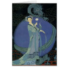 Vintage Art Deco Lady and Dragon Note Card