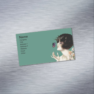 Vintage Art Deco Lady Butterfly Pretty Flowers Magnetic Business Card
