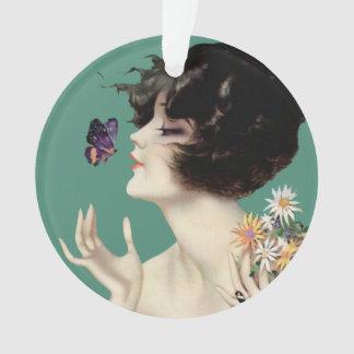 Vintage Art Deco Lady Butterfly Pretty Flowers Ornament