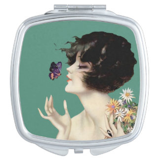 Vintage Art Deco Lady Butterfly Pretty Flowers Mirror For Makeup