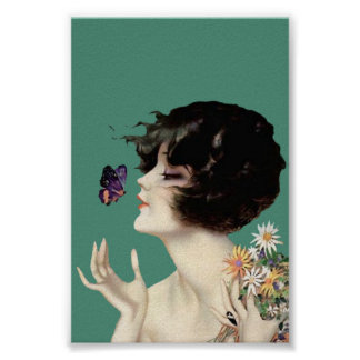 Vintage Art Deco Lady Butterfly Pretty Flowers Poster