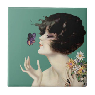 Vintage Art Deco Lady Butterfly Pretty Flowers Tile