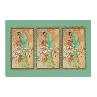 Vintage Art Deco Lady Green Golden Tree Placemat