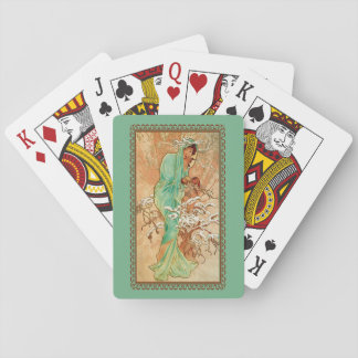 Vintage Art Deco Lady Green Golden Tree Playing Cards