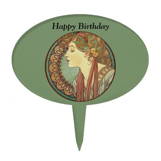 Art Deco Lady Cake : Vintage Art Deco Lady Green Mosaic Tiles Birthday Cake ...
