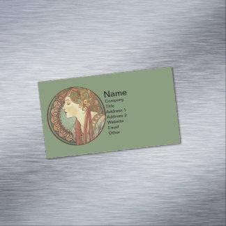 Vintage Art Deco Lady Green Mosaic Tiles Leaves Business Card Magnet