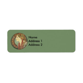 Vintage Art Deco Lady Green Mosaic Tiles Leaves Label
