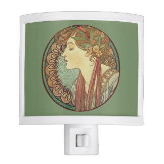 Vintage Art Deco Lady Green Mosaic Tiles Leaves Night Light