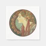 Vintage Art Deco Lady Green Mosaic Tiles Leaves Paper Napkin