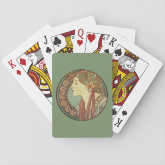 Vintage Art Deco Lady Green Mosaic Tiles Leaves Poker Cards