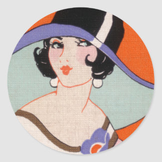 VINTAGE ART DECO LADY WITH HAT STICKERS 6