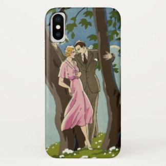 Vintage Art Deco Love and Romance Newlyweds Couple iPhone X Case