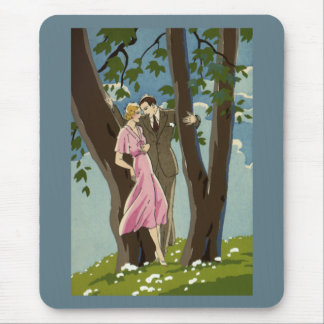 Vintage Art Deco Love and Romance Newlyweds Couple Mouse Pad