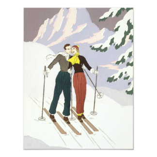 Vintage Art Deco Love and Romance Skiing Newlyweds Card