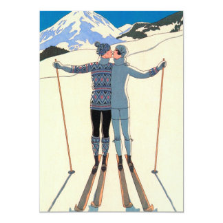 Vintage Art Deco Love Kiss Skis Engagement Party 5x7 Paper Invitation Card