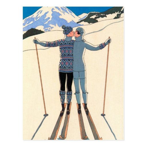 Vintage Art Deco Love Kiss Skis Save the Date! Postcard