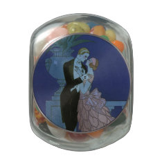 Vintage Art Deco Love Romance Newlyweds Wedding Jelly Belly Candy Jars at Zazzle