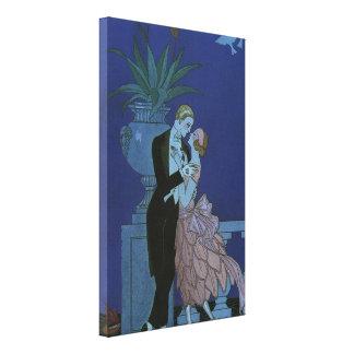 Vintage Art Deco Love Romance Newlyweds Wedding Canvas Print