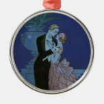 Vintage Art Deco Love Romance Newlyweds Wedding Round Metal Christmas Ornament