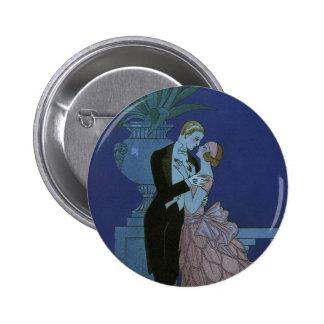 Vintage Art Deco Love Romance Newlyweds Wedding Pinback Button